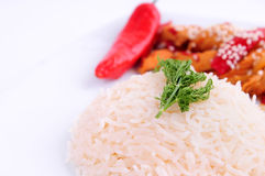 Rice And Dill Macro. Rice, Dill, Red paper and chicken  on the white background Royalty Free Stock Images