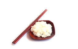 Rice on dish and chopsticks Royalty Free Stock Photography