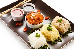 Rice dish with various sauces stock photo