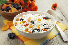 Rice with dried fruit royalty free stock photos