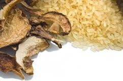 Rice and dried porcini mushrooms Stock Photos