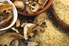Rice and dried porcini mushrooms Stock Photography