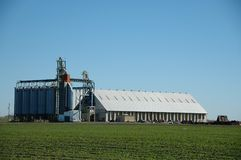Rice dryer. And warehouse near Davis, California stock images