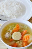 Rice eat with boiled Chinese cabbage and egg tofu soup low fat meal Royalty Free Stock Photo