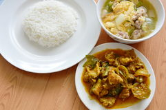Rice eat with spicy stir fried wild boar curry and egg  soup Royalty Free Stock Photography