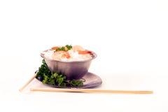 rice för 4 räkor Arkivbilder