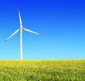 Rice farms Modern wind turbines Stock Image