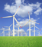 Rice farms Modern wind turbines Stock Photos