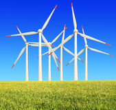 Rice farms Modern wind turbines Royalty Free Stock Photos