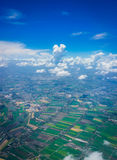 Rice field bird eye view. Thailand Rice field view from aerial shot Stock Images