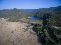 Rice field after harvests season by aerial view Stock Photography