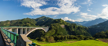Rice field landscape and arch bridge in Takachiho, Miyazaki, Stock Image