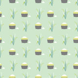 Rice field pattern. Seamless pattern rice field and bagvector background Stock Images