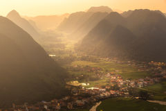 Rice field in valley around with mountain panorama view in Bac Son valley, Lang Son, Vietnam Stock Photo