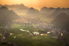 Rice field in valley around with mountain panorama view in Bac Son valley, Lang Son, Vietnam Royalty Free Stock Images