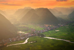 Rice field in valley around with mountain panorama view in Bac Son valley, Lang Son, Vietnam Royalty Free Stock Photography