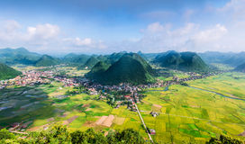 Rice field in valley in Bac Son, Vietnam. Rice field in valley around with mountain panorama view in Bac Son, Vietnam stock photos