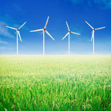 Rice field and wind turbines. Stock Images