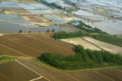 Rice fields as seen by the bell. Top view of rice fields during submergence Royalty Free Stock Image