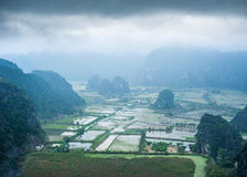 Rice fields at foggy morning. Ninh Binh, Vietnam. Amazing panorama view of rice fields and Vietnamese village among limestone rocks  at foggy morning. Ninh Binh Royalty Free Stock Photography