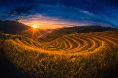 Rice fields on terraced with milky way at sunset in Mu Cang Chai, YenBai, Vietnam.