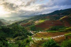 Rice fields on terraced in rainny season at Mu Cang Chai, Yen Bai, Vietnam. Royalty Free Stock Photos