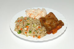 Rice with fisch and vegetable. Brown rice with fisch and vegetable royalty free stock photography