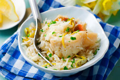 Rice with fish and a leek in ceramic bowl Stock Images