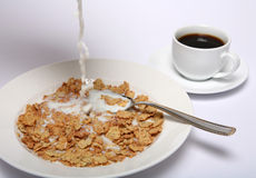Rice flake cereal and coffee Stock Photos