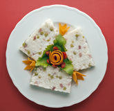 Rice Flan with Ham and Peas Stock Images