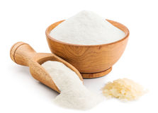 Rice flour on white. Background. Deep focus stock images