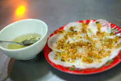 Rice flour wonton or pancakes with peanuts and sauce Royalty Free Stock Photos
