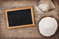 Rice flour in a wooden bowl Stock Photography