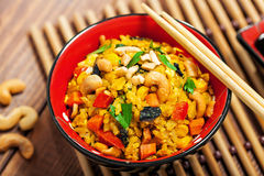 Rice food. Fried rice with vegetables on table Stock Image