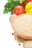 Rice and food ingredient on white Royalty Free Stock Images