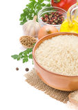 Rice and food ingredient on white Royalty Free Stock Photography