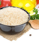 Rice and food ingredient on white Stock Photography
