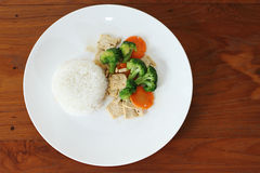 Rice with fried bean curd for vegan Royalty Free Stock Image