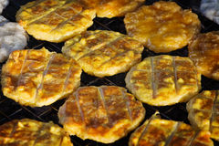 Rice fried cakes. Open market in Thailand Stock Photography