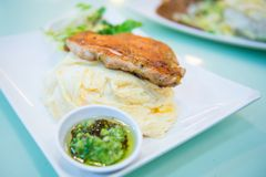 Rice with fried chicken steak stock photography