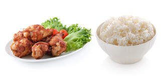 Rice and fried chicken Royalty Free Stock Images