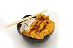 Rice and fried pork cutlet Stock Photo
