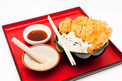 Rice and fried pork cutlet Stock Photos