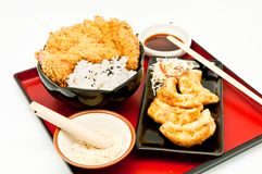Rice and fried pork cutlet and Fried Dumplings Royalty Free Stock Photography