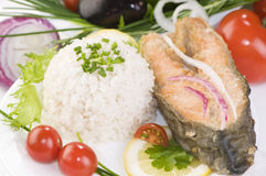 Rice with fried salmon Royalty Free Stock Photography