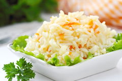 Rice with fried vegetables as a garnish. Rice with fried vegetables for a garnish Stock Photos