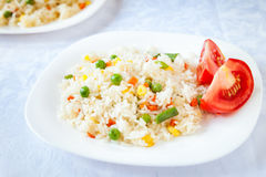 Rice with fried vegetables served with fresh tomato. On white plates Stock Images