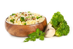 Rice garnish with cheese and mushrooms Royalty Free Stock Image