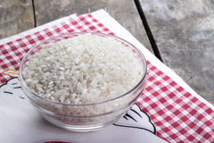 Rice in a glass bowl Stock Images