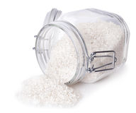 Rice in glass container Stock Photography